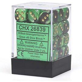 Chessex Gemini 12mm d6 Dice Blocks with pips Dice Blocks (36 Dice) - Black-Green w/gold