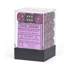 Chessex Gemini 12mm d6 Dice Blocks with pips Dice Blocks (36 Dice) - Black-Purple w/gold