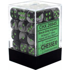 Chessex Gemini 12mm d6 Dice Blocks with pips Dice Blocks (36 Dice) - Black-Grey w/green