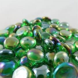 Chessex Gaming Glass Stones in Tube - Iridized Crystal Green (40)