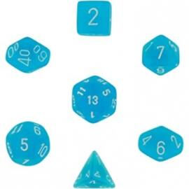 Chessex Frosted 7-Die Set - Carribean Blue w/white