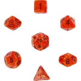 Chessex Vortex 7-Die Set - Orange w/black