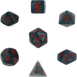 Chessex Velvet 7-Die Set - Black w/red