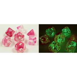 Chessex Lab Dice 4 - 7 Die Set Gemini Clear-Pink/white Luminary