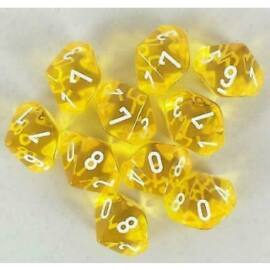 Chessex Translucent Polyhedral Ten d10 Set - Yellow/white