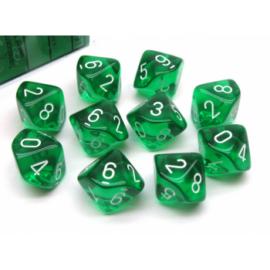 Chessex Translucent Polyhedral Ten d10 Set - Green/white