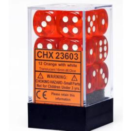 Chessex Translucent 16mm d6 with pips Dice Blocks (12 Dice) - Orange w/white
