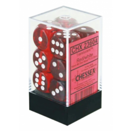 Chessex Translucent 16mm d6 with pips Dice Blocks (12 Dice) - Red w/white