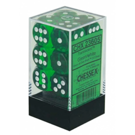 Chessex Translucent 16mm d6 with pips Dice Blocks (12 Dice) - Green w/white