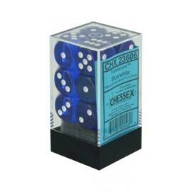 Chessex Translucent 16mm d6 with pips Dice Blocks (12 Dice) - Blue w/white