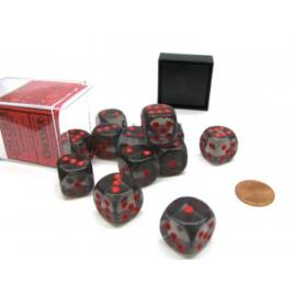 Chessex Translucent 16mm d6 with pips Dice Blocks (12 Dice) - Smoke w/red
