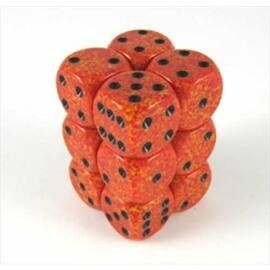 Chessex Speckled 16mm d6 with pips Dice Blocks (12 Dice) - Fire
