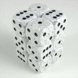 Chessex Speckled 16mm d6 with pips Dice Blocks (12 Dice) - Arctic Camo