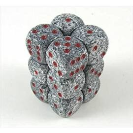 Chessex Speckled 16mm d6 with pips Dice Blocks (12 Dice) - Granite