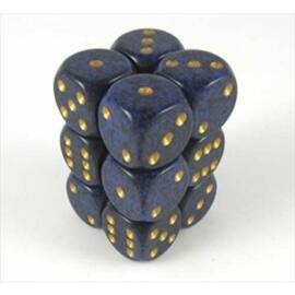Chessex Speckled 16mm d6 with pips Dice Blocks (12 Dice) - Golden Cobalt
