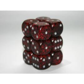 Chessex Speckled 16mm d6 with pips Dice Blocks (12 Dice) - Silver Volcano