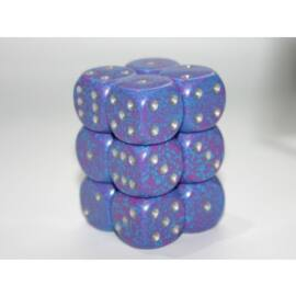 Chessex Speckled 16mm d6 with pips Dice Blocks (12 Dice) - Silver Tetra