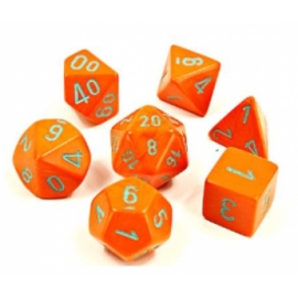 Chessex Lab Dice 4 - 7 Die Set Heavy Dice Polyhedral Orange/turquoise