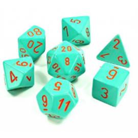 Chessex Lab Dice 4 - 7 Die Set Heavy Dice Polyhedral Turquoise/orange