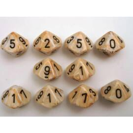 Chessex Ten D10 Sets - Marble Ivory w/black