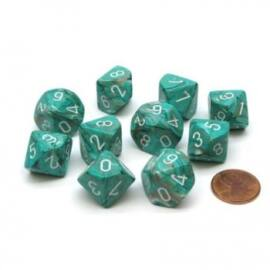 Chessex Ten D10 Sets - Marble OxiCopper/white