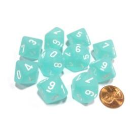 Chessex Ten D10 Sets - Frosted Teal w/white