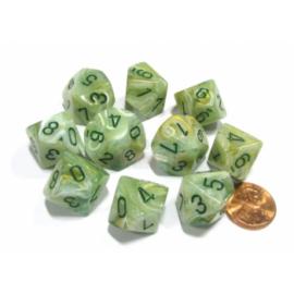 Chessex Ten D10 Sets - Marble Green w/dark green