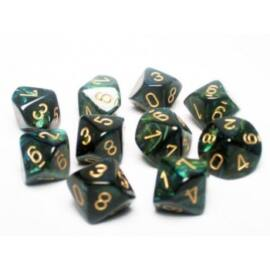 Chessex Ten D10 Sets - Scarab Jade w/gold