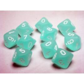 Chessex Ten D10 Sets - Frosted Caribbean Blue w/white