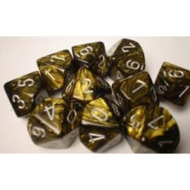 Chessex Ten D10 Sets - Leaf Black Gold w/silver