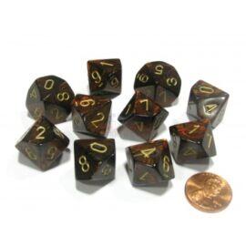 Chessex Ten D10 Sets - Scarab Blue Blood w/gold