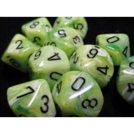 Chessex Ten D10 Sets - Vortex Bright Green w/black