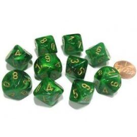 Chessex Ten D10 Sets - Vortex Green w/gold