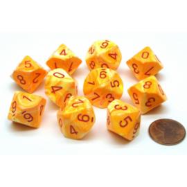 Chessex Ten D10 Sets - Festive Sunburst /red