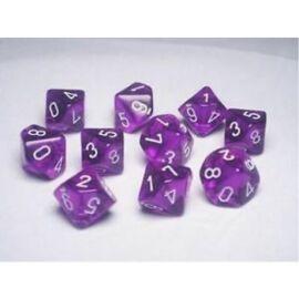Chessex Ten D10 Sets - Festive Violet w/white