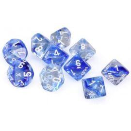 Chessex Ten D10 Sets - Nebula Dark Blue w/white