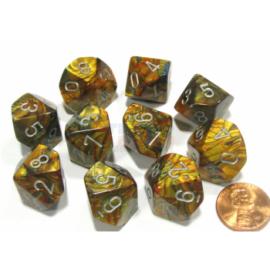 Chessex Ten D10 Sets - Lustrous Gold w/silver
