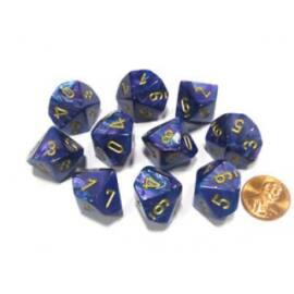 Chessex Ten D10 Sets - Lustrous Purple w/gold