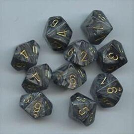 Chessex Ten D10 Sets - Lustrous Black w/gold