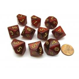 Chessex Ten D10 Sets - Glitter Polyhedral Ruby/gold