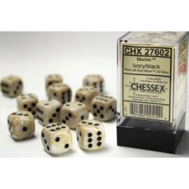 Chessex 16mm d6 with pips Dice Blocks (12 Dice) - Marble Ivory w/black