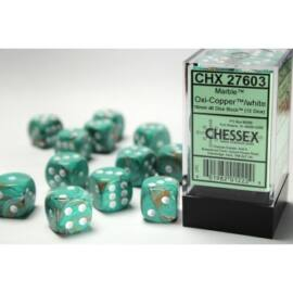 Chessex 16mm d6 with pips Dice Blocks (12 Dice) - Marble OxiCopper/white