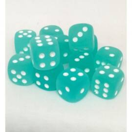 Chessex 16mm d6 with pips Dice Blocks (12 Dice) - Frosted Teal w/white