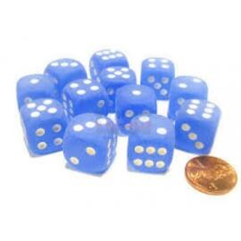 Chessex 16mm d6 with pips Dice Blocks (12 Dice) - Frosted Blue w/white