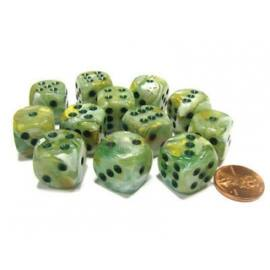 Chessex 16mm d6 with pips Dice Blocks (12 Dice) - Marble Green w/dark green
