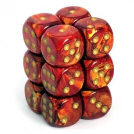 Chessex 16mm d6 with pips Dice Blocks (12 Dice) - Scarab Scarlet w/gold