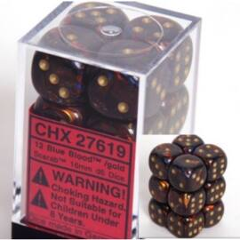 Chessex 16mm d6 with pips Dice Blocks (12 Dice) - Scarab Blue Blood w/gold