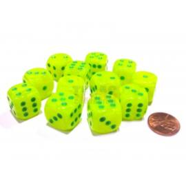 Chessex 16mm d6 with pips Dice Blocks (12 Dice) - Vortex Electric Yellow w/green