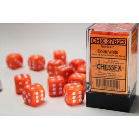 Chessex 16mm d6 with pips Dice Blocks (12 Dice) - Vortex Solar w/white