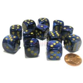 Chessex 16mm d6 with pips Dice Blocks (12 Dice) - Scarab Royal Blue w/gold